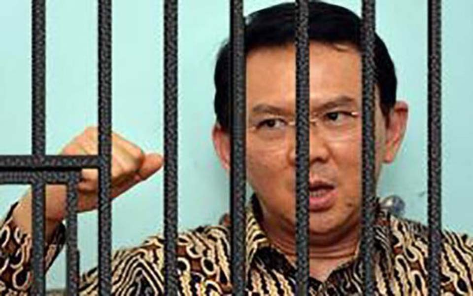 Ahok at the Brimob headquarters detention centre (Tribune)