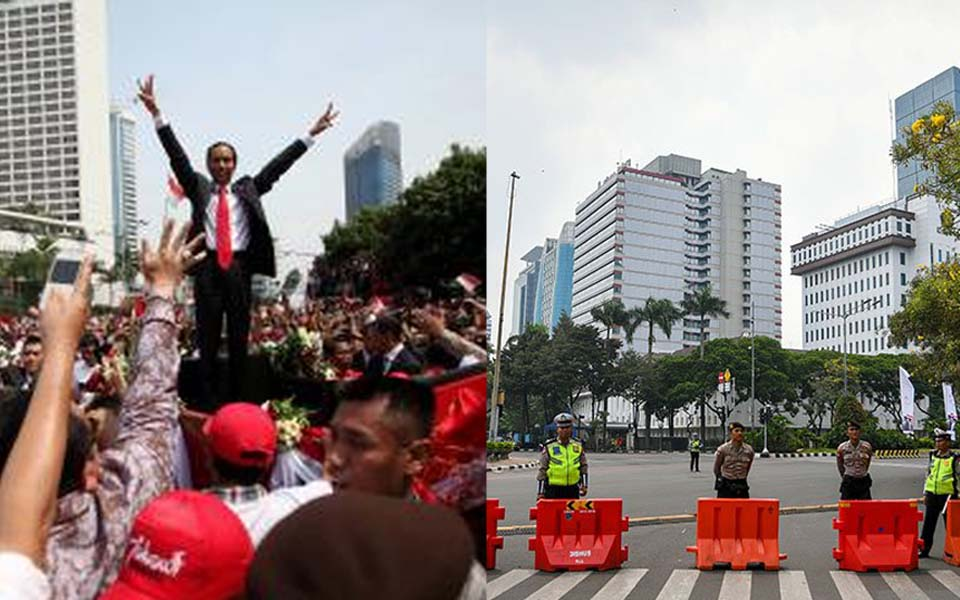 Central Jakarta on Widodo's inauguration in 2014 (left) and 2019 (right)
