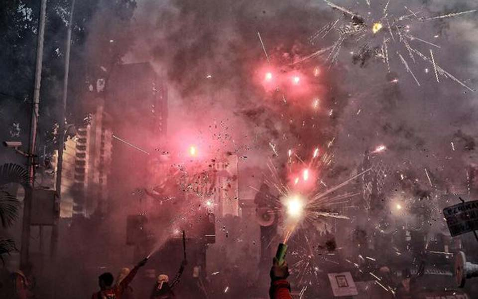 Firework display marks end of May Day rally in Jakarta – May 1, 2019 (CNN)