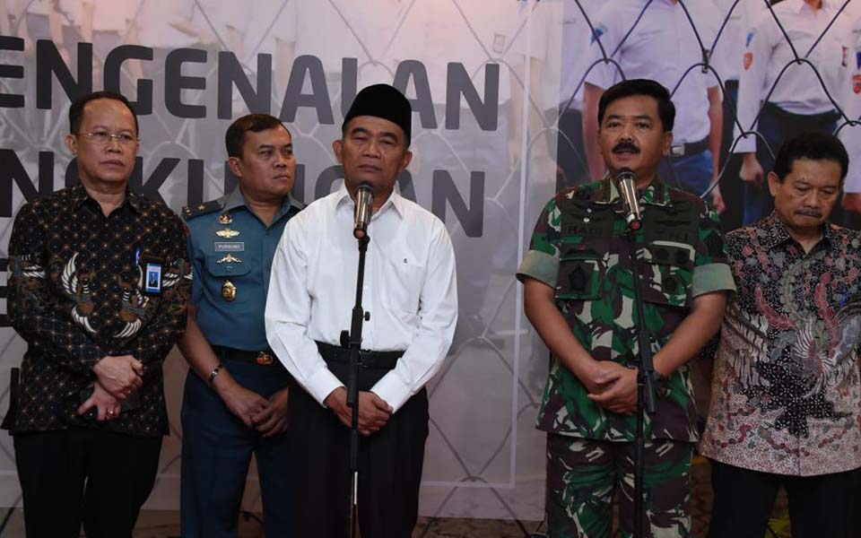 Hadi Tjahjanto and Muhadjir Effendy at press conference – July 21, 2019 (Puspen TNI)