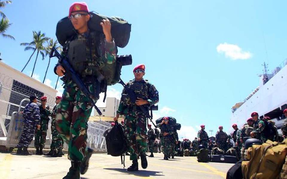 Indonesian soldiers prepare for deployment (Antara)