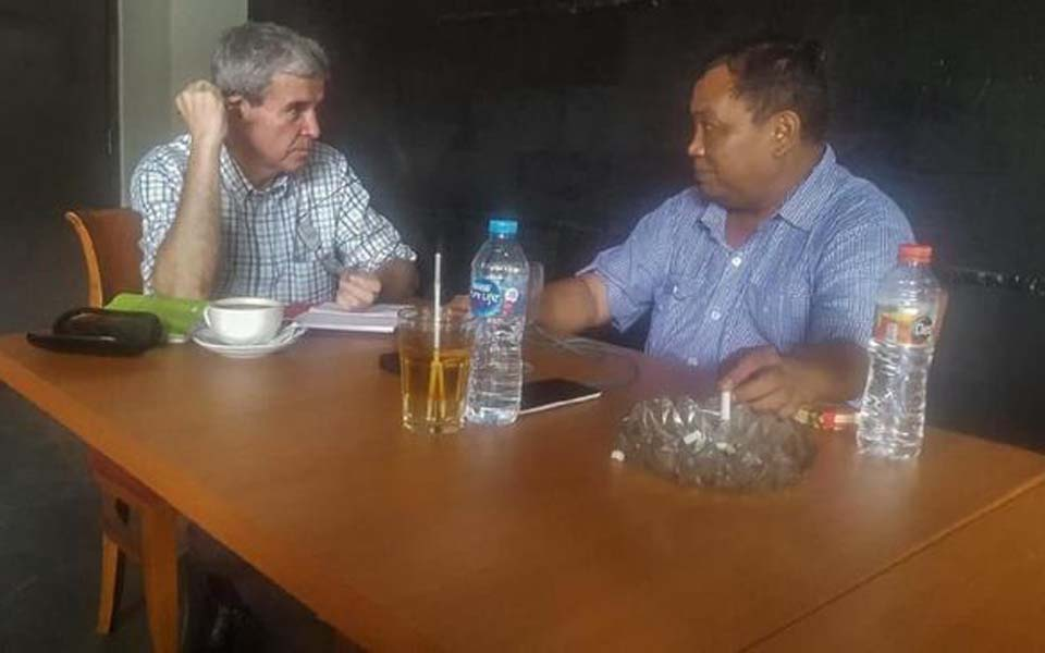 Journalist Allan Nairn and Gerindra politician Arief Poyuono (Istimewa)