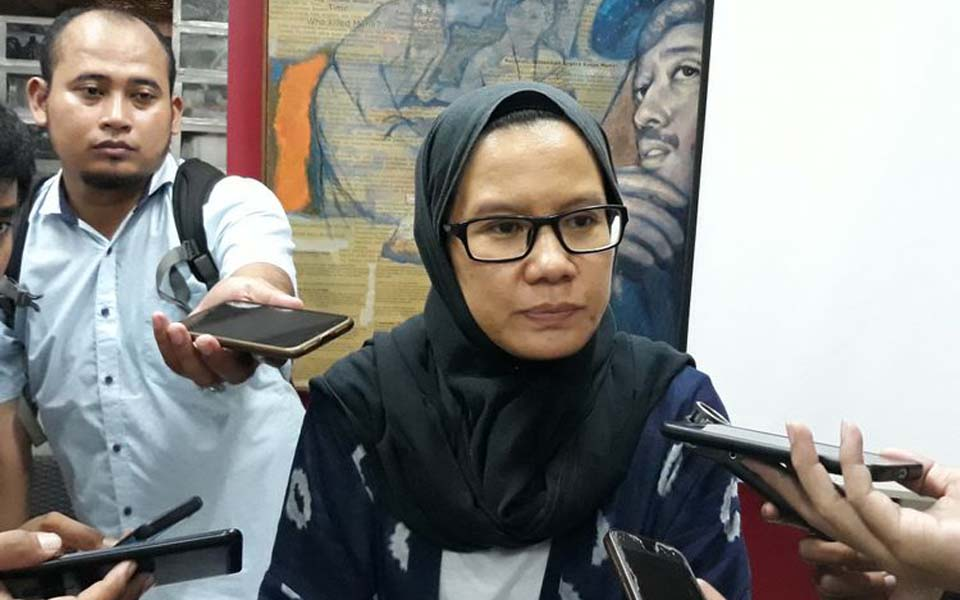 Kontras coordinator Yati Andriani at Kontras office – October 19, 2018 (Kompas)