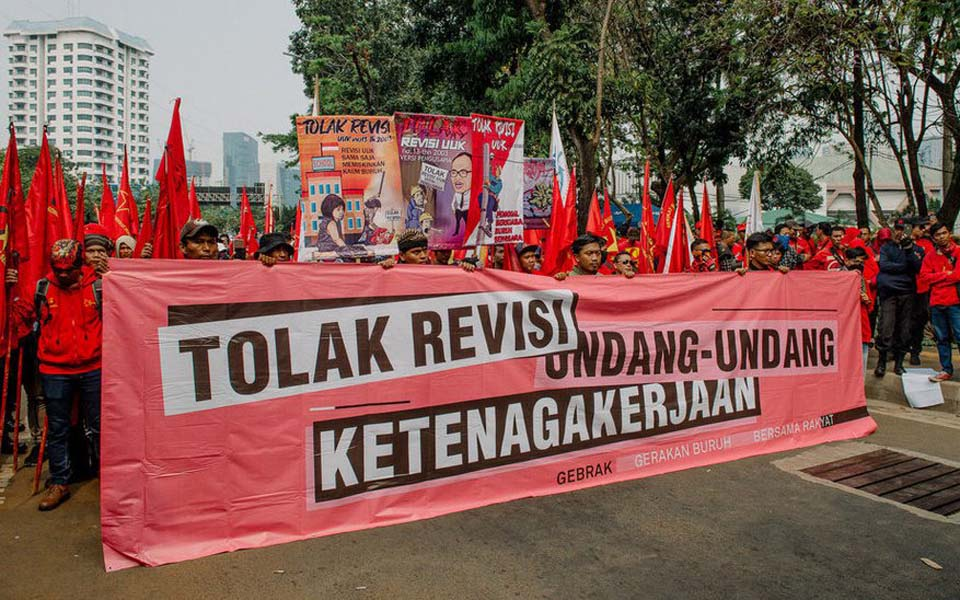 Labour rally in Jakarta against labour law revisions – August 16, 2019 (Tirto)