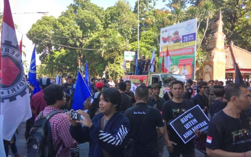 May Day rally in front of governor's office in Bali – May 1, 2019 (Warta Bali)