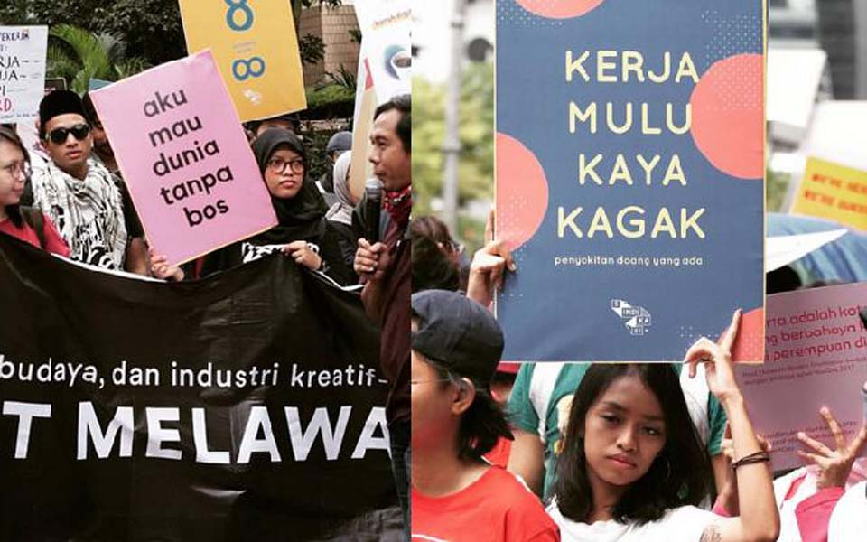 Media industry workers rally in Central Jakarta on May Day – May 1, 2019 (Tempo)