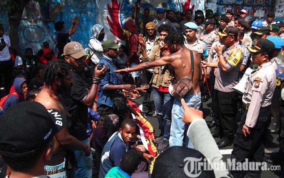 Police break up AMP protest in Malang - August 15, 2019 (Tribune)