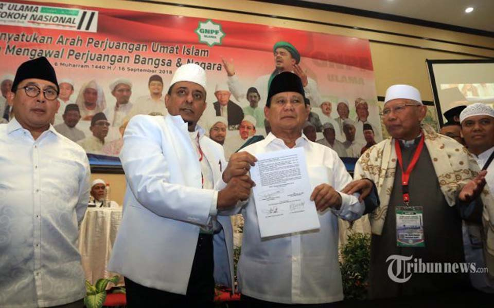 Prabowo holds integrity pact at 2nd Ijtimak Ulama – September 16, 2018 (Tribune)