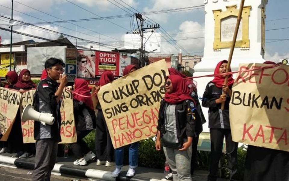 Protest action at the Pal Putih Monument in Yogyakarta – December 10, 2019 (Suara Yogya)
