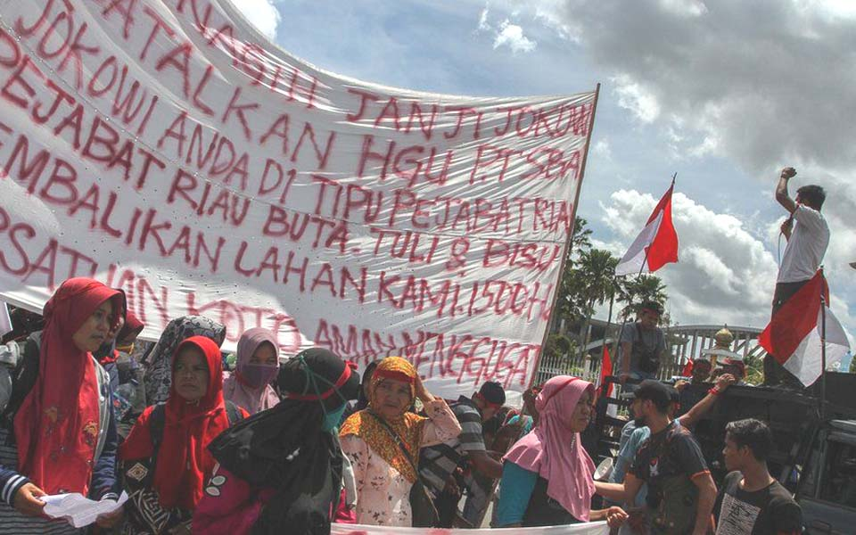 Protest against land appropriation in Riau (Antara)