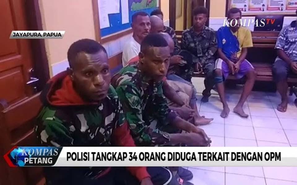 Screen shot from TV report on arrest of 34 Papuan activists – November 30, 2019 (Demokrasi)