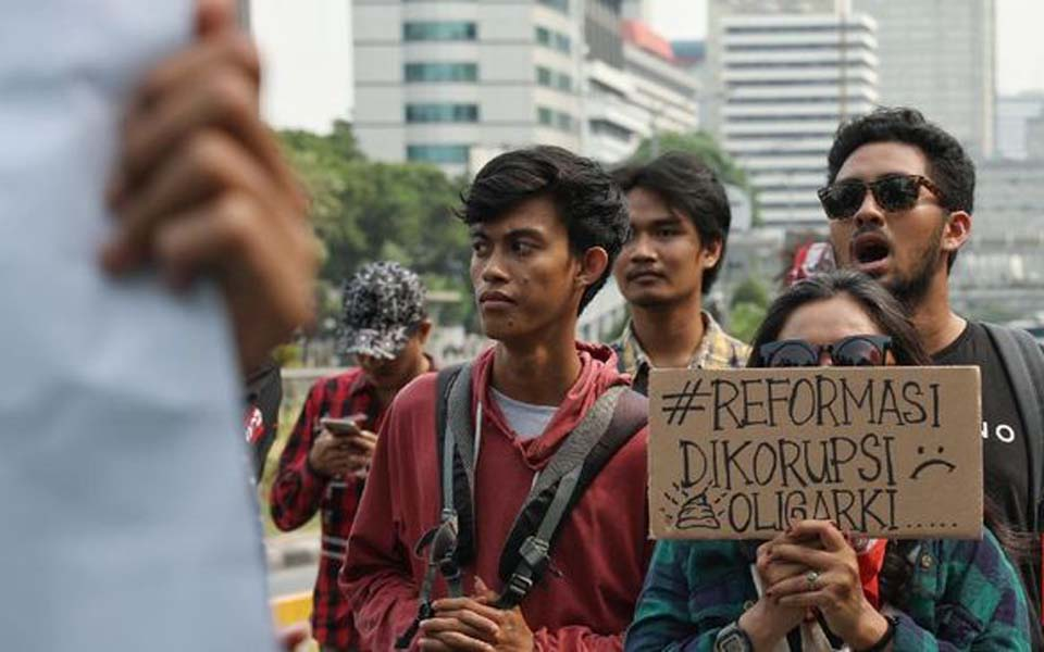 Student protest at Horse Statue in Jakarta – October 28, 2019 (CNN)