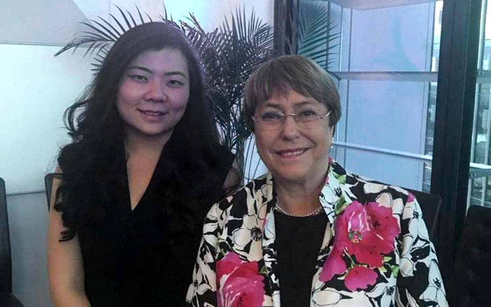 Veronica Koman and Michelle Bachelet in Sydney – October 8, 2019 (Facebook)