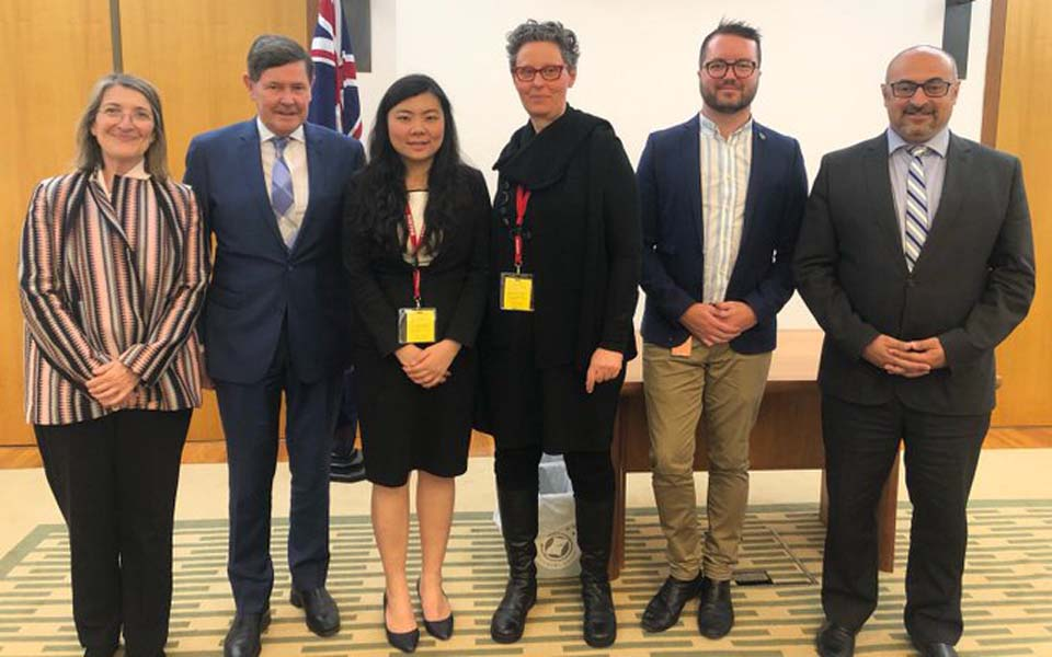 Veronica Koman (centre) and Australian parliamentarians – October 16, 2019 (Twitter)