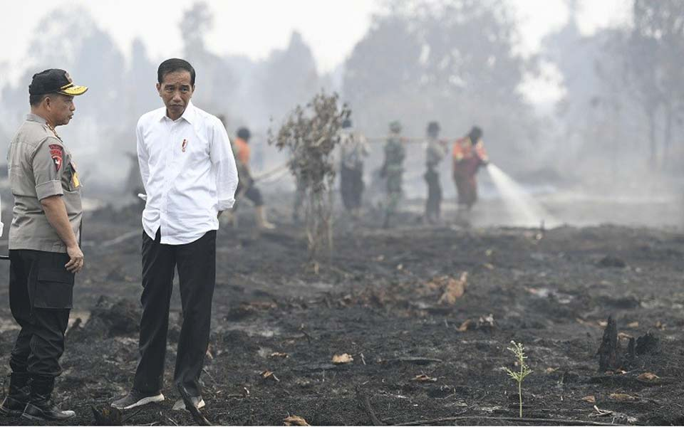 Widodo and police chief Tito Karnavian inspect fires in Riau – September 17, 2019 (ANI)